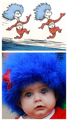 how-to: thing 1 & thing 2 costumes.  Hot glue a blue boa onto a beanie hat