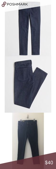 """J. Crew Factory Toothpick Jean in Midnight Wash J. Crew Factory Toothpick skinny jean in midnight wash  PRODUCT DETAILS Our looks-great-on-everyone skinny silhouette is styled straight through the thigh and leg in a deep, dark wash. Wear often—this pair gets only better with time. •Cotton. •Sits lower on hips, with a superskinny, straight leg. •Traditional 5-pocket styling. •32"""" inseam. •Machine wash. •Item 18914  EUC J. Crew Factory Jeans Skinny"""