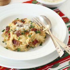 Spaghetti alla Carbonara - a plate of heavenly, creamy pasta.