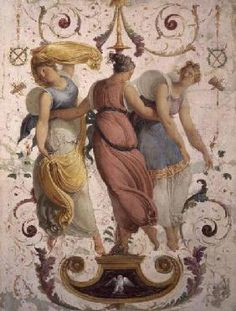 Francesco Hayez - Detail of decorative panel with three female dancers (panel)