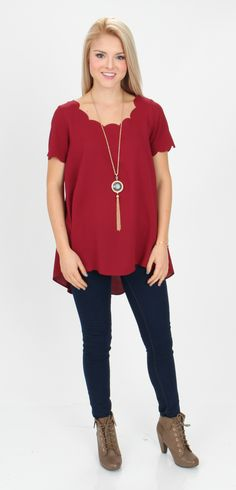 Mondaydress.com - $29.99 Big Girl Now Wine Scalloped Shirt