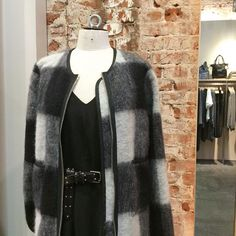 Fuzzy checks from Libertine-Libertine, silky dress from Minimum and studded belt from Cowboysbelt