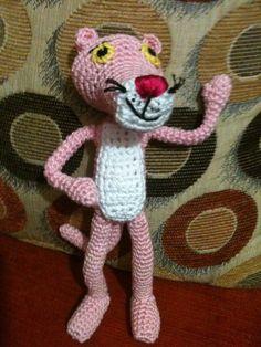 Amigurumi Pantera Rosa, Chofisgurumis tejido a gancho, patrón Amigurumiaskina, hecho a mano, hecho en México, Tonanitla.