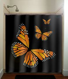 monarch butterfly shower curtain. This is awesome but you can't see well enough behind a dark curtain.