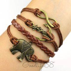 infinity bracelet,karma bracelet,anchor bracelet,elephant bracelet,wax cords, leather bracelet,best gift for friends. $7.99, via Etsy.