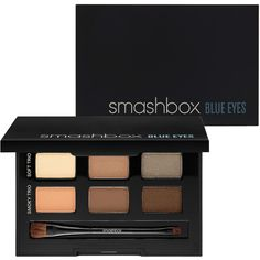 Smashbox Photo Op Eye Enhancing Palette - Blue Eyes (£32) ❤ liked on Polyvore featuring beauty products, makeup, eye makeup, eyeshadow, beauty, shadow brush, eyeshadow brushes, smashbox eyeshadow, palette eyeshadow and smashbox
