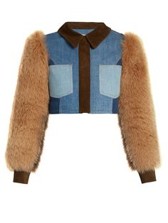 Sonia Rykiel Fur and Suede-Panel Cropped Denim Jacket. This is just Too Cute! It's got Chubby Little Fur Sleeves with Knitted Cuffs, Fitted, Cropped Denim Body, Brown Suede Collar and Placket. I like it with a Thin-Striped, Fitted, Cashmere T-Shirt and Chambray Blue Wool Cropped Trousers. Shine with a few pieces of Polished Silver Jewelry. And, I've got Amazing Burnished Tan Oxfords and a Hand-Pieced, Multi-Color Bag (It's all on this board). We've got a lot of Style going on, here…