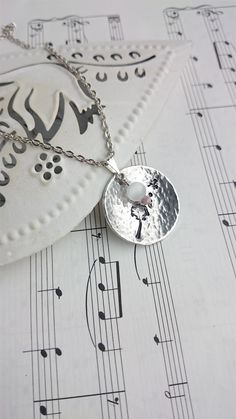Dandelion Long Necklace. Dandelion and Fluff pendant with cute glass beads on a Silver Tone Curb Chain. Wish Necklace. - pinned by pin4etsy.com