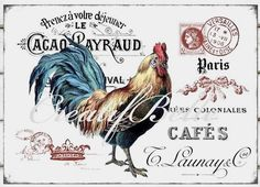Vintage French Rustic Rooster Large Instant by CreatifBelle Decoupage Vintage, Decoupage Paper, Vintage Paper, Vintage Farm, French Vintage, Foto Transfer, Iron On Fabric, Rooster Decor, Chicken Art