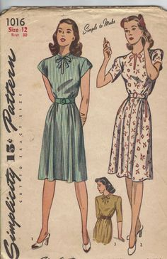 1940s women's dresses pattern