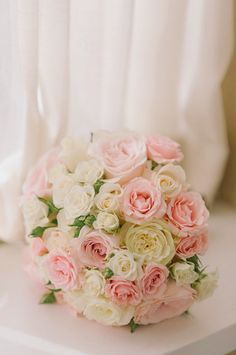 White and pink roses wedding bouquet