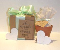Kit de plantación con papel plantable, tierra en saquito de lienzo y maceta.