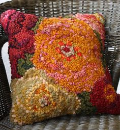 Autumn Flowers Pillow Top Kit 12 by This beautiful pillow top is easy to create. We include everything you need to hook the pillow top including hook, wool strips, lots of fun textures and Wool/Yarns, hand drawn pattern right on your backing, Rug Hooking Frames, Rug Hooking Kits, Rug Hooking Designs, Rug Hooking Patterns, Locker Hooking, Fall Pillows, Floral Pillows, Floral Rugs, Kids Pillows
