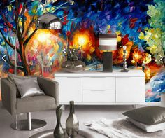 Custom wallpaper for walls 3D,the style of oil painting under the abstract street lamp for the living room bedroom wallpaper