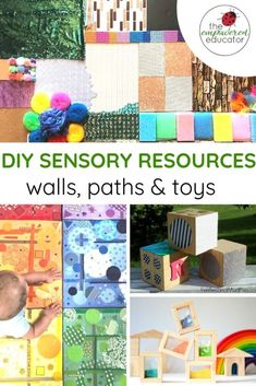 How to make your own easy sensory play toys for early learning. How to make your own sensory resourc Diy Sensory Toys, Sensory Wall, Sensory Boards, Sensory Bins, Sensory Activities, Infant Activities, Activities For Kids, Activity Ideas, Sensory Rooms