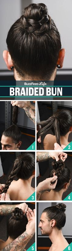 Here's a braided bun that looks really good on wet hair. | Please Enjoy These Hot Men Showing You How To Do Your Hair For The Gym