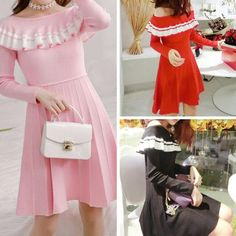 Red/Pink/Black Sweet Princess Knitted Dress SP178643