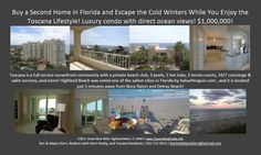 Buy a Second Home in Florida and Escape the Cold Winters While You Enjoy the Toscana Lifestyle! Luxury condo with direct ocean views!   Spectacular condo for sale in luxury, full service oceanfront community in Highland Beach! Just Listed! Asking Price: $1,000,000. MLS: # RX-10321546. 2 bedrooms + office, 2.1 baths, 2,339 sq. ft. of living area, 2 huge patios, and 2 deeded parking spaces. Direct ocean views, and in pristine condition! Upgrades galore!  https://youtu.be/KAcJW6hyz20