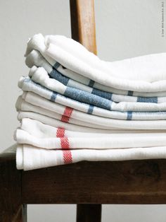 stack of towels for the kitchen