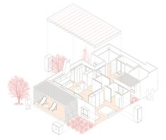 exploded isometric projection | House for Pau & Rocio | Arnau Tiñena Architecture