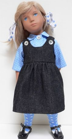 Spotted blouse and socks with denim pinafore dress and vintage spotted ties for Sasha doll by chirnside on eBay