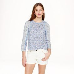 J.Crew+-+Liberty+mixed-floral+pleated+top+in+lavender