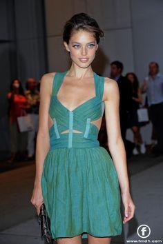 Emily Didonato in green Narciso Rodriguez dress