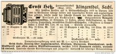 Original-Werbung/ Anzeige 1898 - MUSIKINSTRUMENTE HESS KLINGENTHAL - ca. 100 x 45 mm