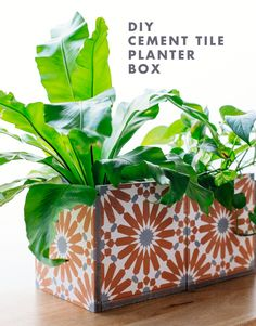 DIY Cement Tile Planter I'm pretty obsessed with the cement tiles we put in our newish studio kitche Tile Crafts, Cement Crafts, Diy Planter Box, Diy Planters, Succulent Planters, Concrete Planters, Succulents Garden, Tile Projects, Craft Projects