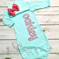 e44c5ab85c8f Items similar to Baby Girl Coming Home Outfit - Newborn Take Home Outfit - Mint  Gown - Baby Girl Gift - Pink and Mint Baby Clothes - Custom Baby Clothes on  ...