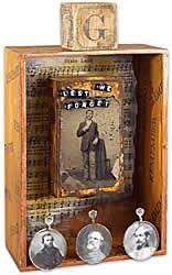 vintage photo display wooden box displays old family photos