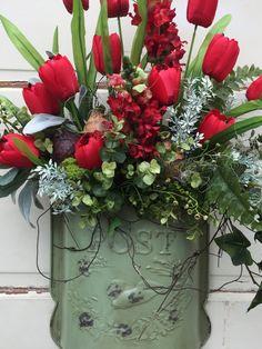 Spring Door Wreath Tulip Wreath Spring Door Basket Tulip