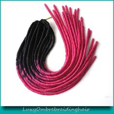 20inch Black Fuschina Pink Ombre Color Faux Locs Crochet Braid Synthetic Soft Dreadlocks Braids in Hair Extensions Weave Dreadlock Extensions, Hair Extensions, Crochet Faux Dreads, Dreadlocks, 100 Kanekalon Hair, Col Crochet, Faux Col, Faux Locs Hairstyles, Afro
