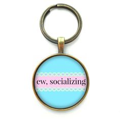 Ew Socializing Funny Keychain, Gag Gift Accessories, Pastel Goth Soft... (20 AUD) ❤ liked on Polyvore featuring accessories, fob key chain and long key chains