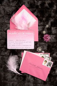 Pajama Glam Slumber Party Invitations with Pink Turkey Marabou and Flat Feathers!!