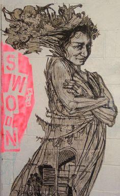 Street Art by Swoon Street Art Banksy, Murals Street Art, Graffiti Art, Urban Graffiti, Best Street Art, Amazing Street Art, Pablo Picasso, Newspaper Art, Pics Art