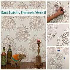 Indian inspired stencil pattern for ethnic vibe in home design | Rani Paisley Stencil by Roayl Design Studio