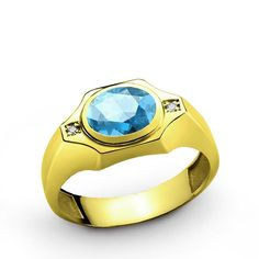 Men's Ring in 14k Yellow Gold with Blue Topaz and Natural Diamonds