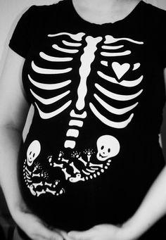 SALE - Maternity Halloween Costume -DIY Iron On Pregnant Skeleton - Twins Applique