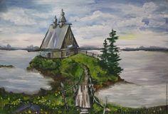 """Купить картина """"Церковь"""" - комбинированный, пейзаж, река, церковь, картина, Живопись, картина в подарок, природа"""