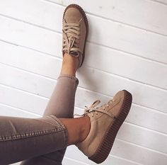 Sarah Ashcroft is creepin' it cool with Public Desire's faux suede creeper trainers! #need