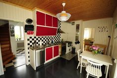 Red, white and black KITCHEN