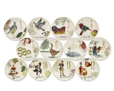 12 Days of Christmas Salad/Dessert Plates from William Sonoma.