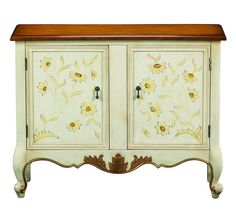 This hand painted accent cabinet features 2 doors