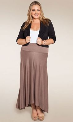 black blazer, blush/nude skirt- plus size www.curvaliciousclothes.com something about the wide banding at the waist looks off to me, but i still like it.