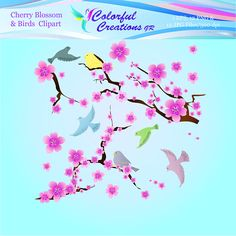 Spring Cherry Blossom and Birds Digital Clipart, Birds Digital Clipart, Spring Clipart, Cherry Blossom Clipart, Personal & Commercial Use Color Fly, Cherry Blossom, Different Colors, Decoupage, Commercial, Clip Art, Birds, Scrapbook, Invitations