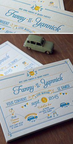 Faire-part de mariage aux couleurs pop jaune et bleu / letterpress wedding invite in a blue and yellow duo