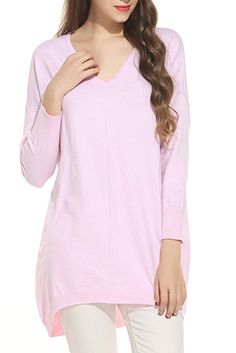 93974519090 Meaneor Women Fitted Long Sleeve Blouse Casual V Neck Knit Pullover Sweater  Tops Pink M Pink