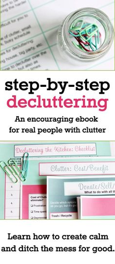 Oh my goodness - I need this book! Great decluttering tips and tricks. Get checklists and encouragement to help you declutter your home. I really need to organize my paperwork first of all. #declutter #decluttering #decluttertips #ebook #reallife #anxiety