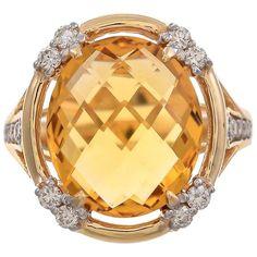 18 Karat Yellow Gold Citrine and Tsavorite Garnet Ring For Sale at Gold Rings For Sale, Diamond Rings For Sale, Gold For Sale, Gold Diamond Rings, Yellow Gold Rings, Stylish Rings, Garnet Rings, Fashion Rings, Sapphire
